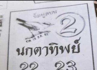 หวยนกตาทิพย์ 16/12/62