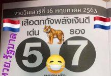 หวยซองเสือตกถัง พลังเงินดี1/6/63