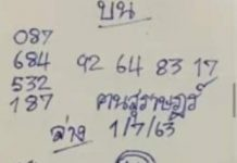 เลขเด็ด หวยคนสุราษฎร์ เด็กสุราษฎร์ 1/7/63