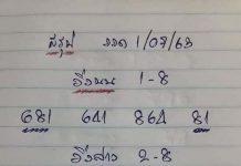 เลขเด็ดล่างหวย yai tum 1/7/63