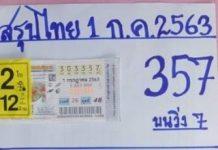 หวยทำมือ บารมีเหล็กไหล สรุปไทย1/7/63