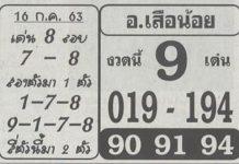 เลขเด็ด หวยอ.เสือน้อย16/7/63