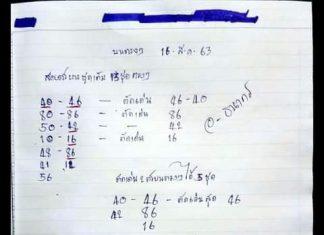 หวย 3 ตัวตรง หวยทำมือ อ.ธนากร16/8/63