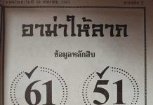 หวยอาม่าให้ลาภ16/8/63