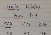 เลขเด็ดล่างหวย yai tum 16/10/63