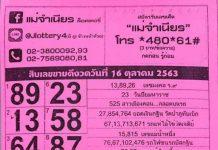 หวยแม่จำเนียร สรุปเลขขายดี สิบเลขฮิต16/10/63