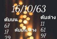 เลขดับบน ดับล่าง อ.สายธาร น้ำใส16/10/63