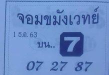 เลขวิ่งตัวเดียว จอมขมังเวทย์1/12/63