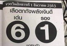 หวยซองเสือตกถัง พลังเงินดี1/12/63