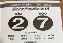 หวยซองเสือตกถัง พลังเงินดี1/3/64
