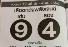 หวยซองเสือตกถัง พลังเงินดี1/4/64