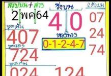 หวยทำมือ ม่อนชิโร อ.สมเลขเด็ด อ.เต๋า2/5/64