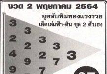 หวยทับทิมทองรวยแรง สรุปเลขเด็ดงวดนี้ 2/5/64