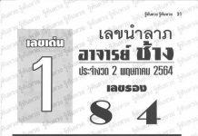 หนังสือหวย อาจารย์ช้าง เซียนโป๋ว อ.กุ้ง 2/5/64