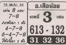เลขเด็ด หวยอ.เสือน้อย16/4/64