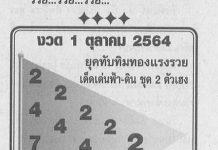 หวยทับทิมทองรวยแรง สรุปเลขเด็ดงวดนี้1/10/64